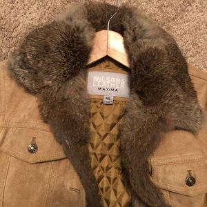 Wilson leather suede coat with detachable fur